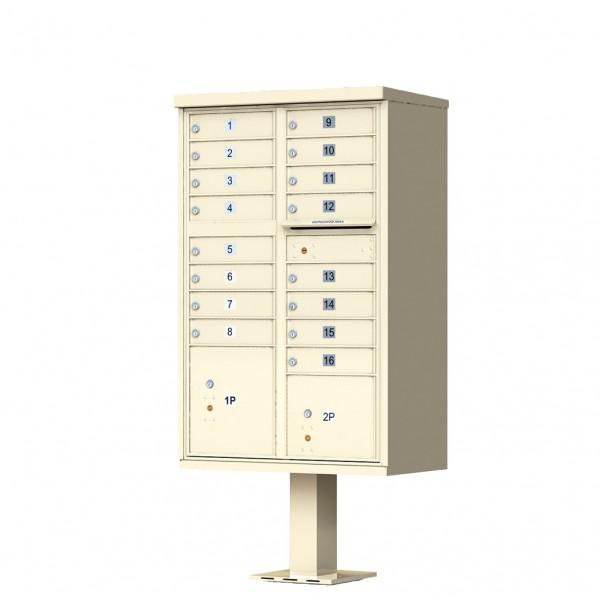 16 Door Sandstone Florence Cluster Mailbox with Pedestal - 1570-16-SD