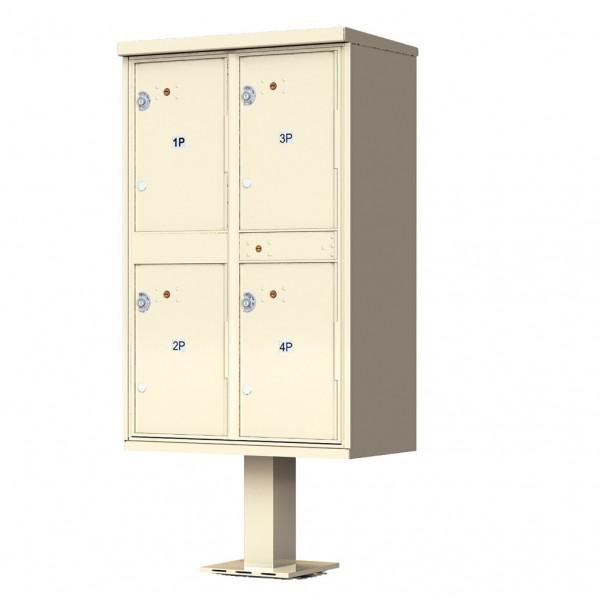 4-Door Pedestal Style High Security Outdoor Parcel Locker (Pedestal Included) - 1590-T2AF