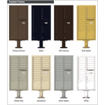 19 Tenant Doors with 2 Parcel Doors and 1 Outgoing Mail Compartment (Pedestal Included) - 4C Pedestal Mount Max Height Mailboxes - 4C16D-19-P  !!!